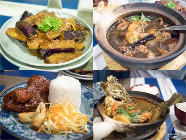 terung belado, chicken pongteh, ayam masak merah, asam fish pedas claypot