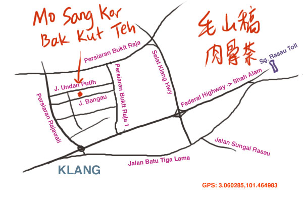 direction to Mo Sang Kor bak kut teh at Taman Berkeley, Klang