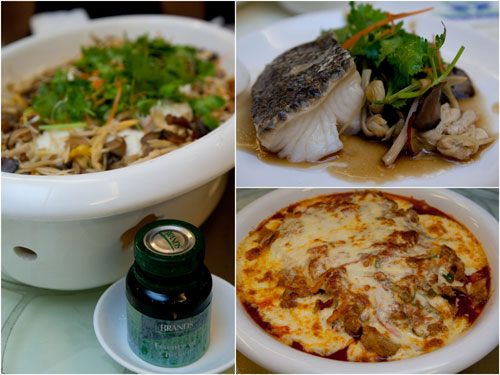 steamed cod fish with essence of chicken, baked chicken with cheese