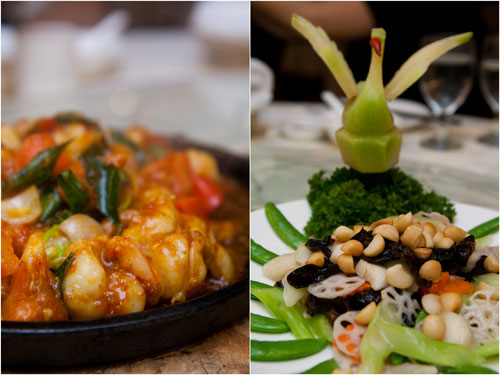 Thai style stir fried prawns, assorted greens with macadamia