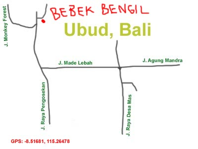 map to Bebek Bengil, Ubud