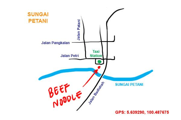 taxi station beef noodle at Sungai Petani map