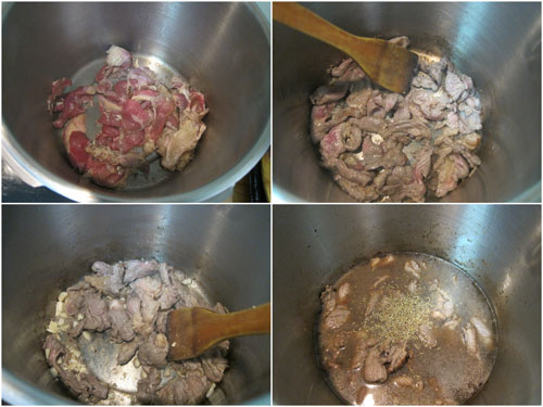 pan fry the beef till brown, then add