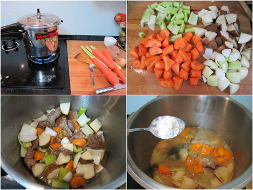 chopped up vegetables and put in pressure cooker for another 8 minutes