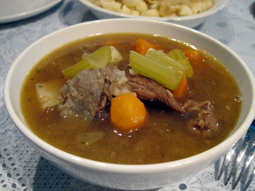 a hearty bowl of stew with very tender beef