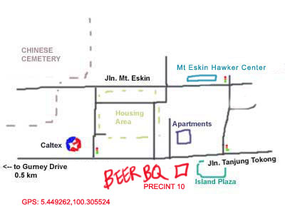 map to BeerBQ at Precinct 10, Penang