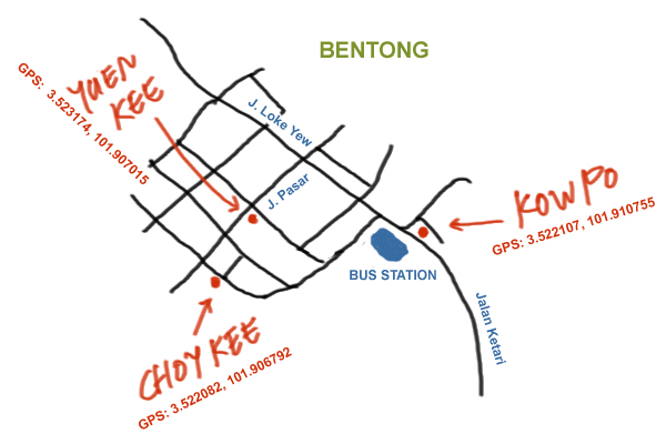 map to Bentong food