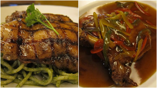 pesto pasta with grilled chicken, chinese style pork chop