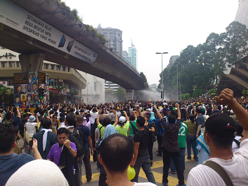 water cannon was used on Bersih demonstrators