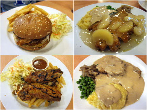 pork burger, pork chop with apple sauce, pork belly, pork chop with gravy