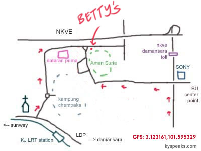 map to Betty's Midwest Kitchen at Aman Suria