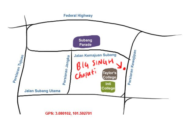 map to Big Singh Chapati, Subang Jaya