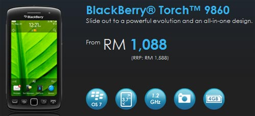 Blackberry Torch 9860 from Celcom