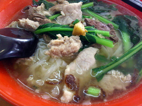 traditional pork noodle with all the good stuff, RM 5