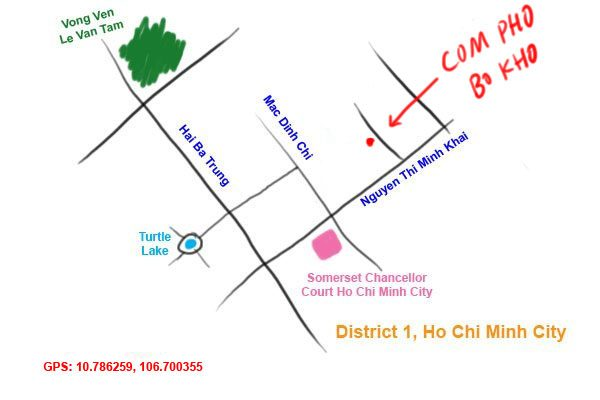 bo kho restaurant map, District 1 HCMC