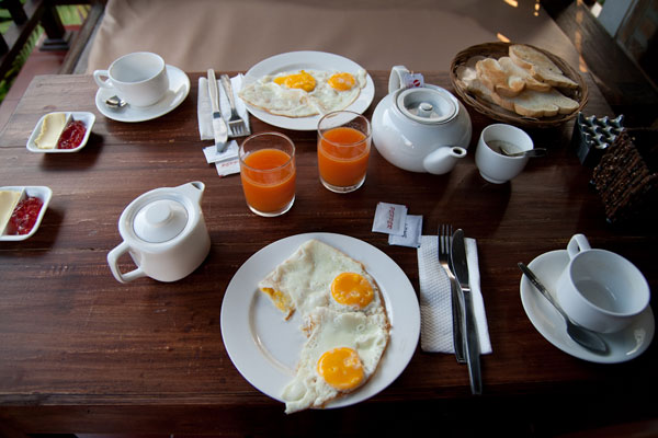 typical breakfast - 2 eggs, some breads, coffee