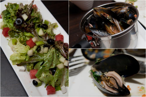 brussels summer fruit salad,  moules hoegaarden / mariniere