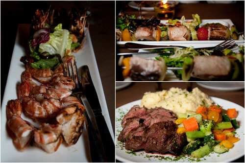 grilled tiger prawn, grilled marlin skewer, Chateaubriand steak