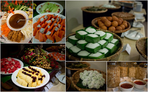 fruits, traditional kuih, and more