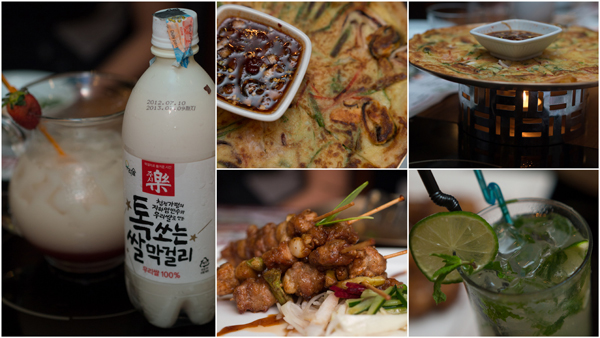 makguli goes well with haemul pajeon (Korean pancake), spicy chicken maekjeok