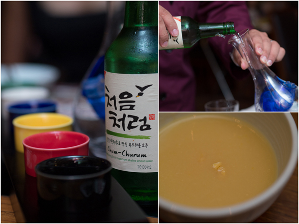soju needs no introduction, the corn soup was creamy and delicious
