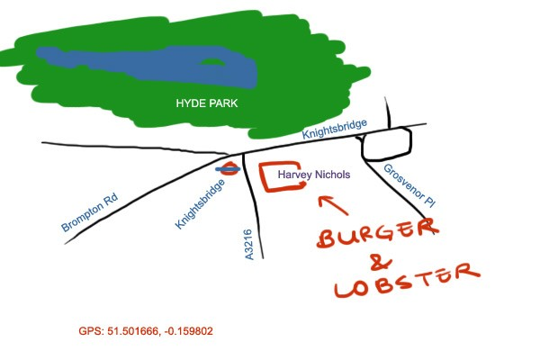 Burger and Lobster at Knightsbridge, London Map