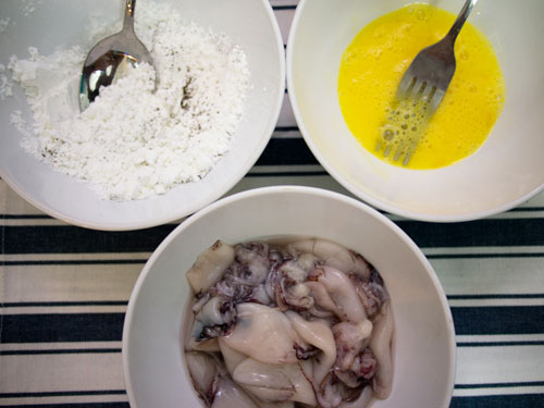 ingredients - squid, flour, egg