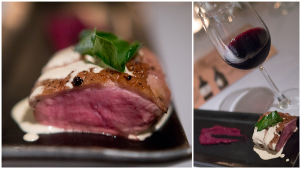 roast duck breast with red cabbage puree & mustard sauce, Shiraz 2011