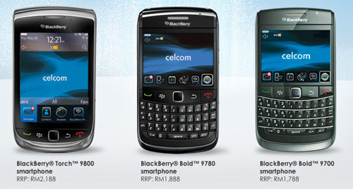 Celcom Blackberry - Torch, Bold 3, Bold 2