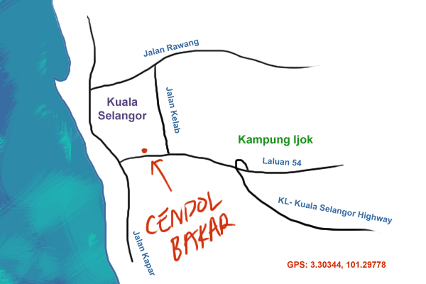 map to Cendol Bakar Kuala Selangor