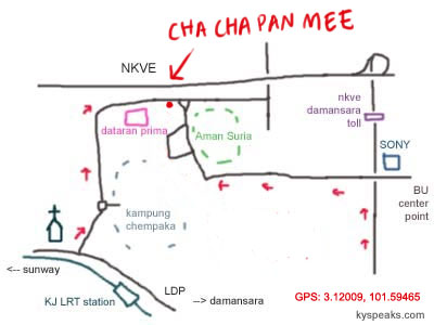 map to cha cha pan mee at Aman Suria
