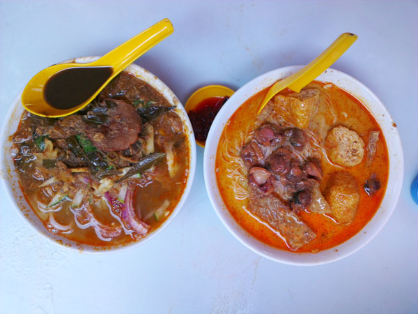 asam laksa and KL style curry mee