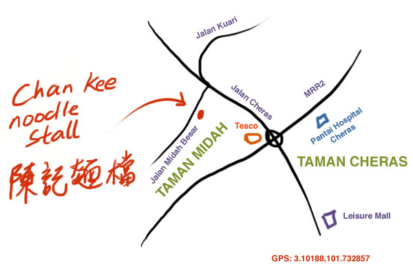 map to Taman Midah noodle stall