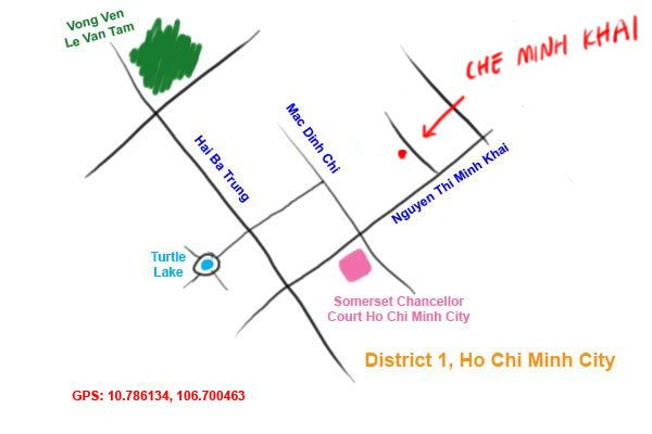 map to che minh khai restaurant, Saigon
