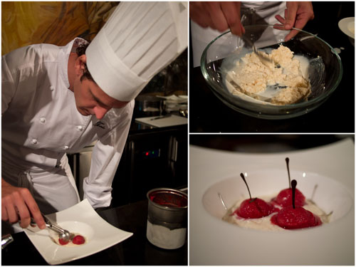 milk risotto with cherry parfait