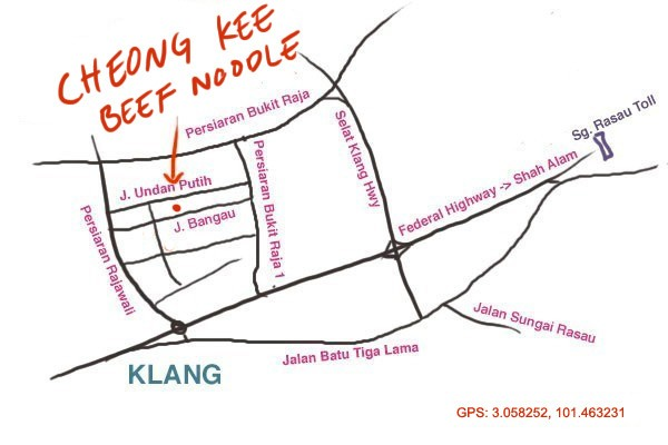 map to Cheong Kee beef noodle, Taman Berkeley