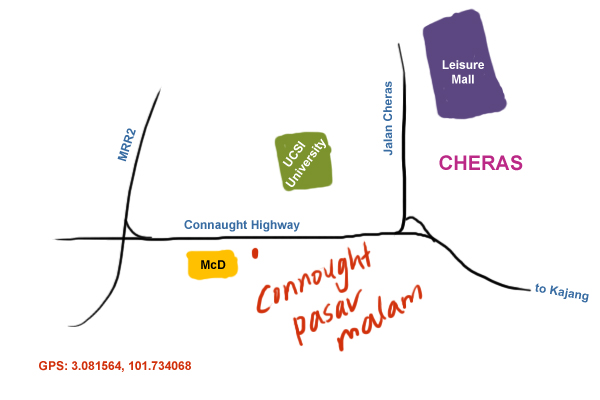 map to Taman Connaught Pasar Malam
