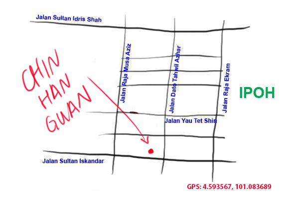 map to chin han guan biscuit, ipoh