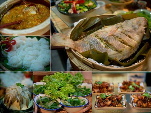 Thai laksa, steamed tilapia, raw prawn salad, fried chicken with lime leaves