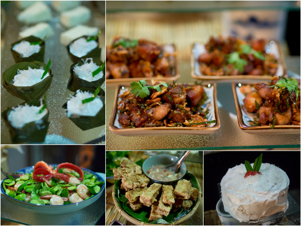 steamed banana cake & santan marshmallow, petai with prawn, salted fish tofu