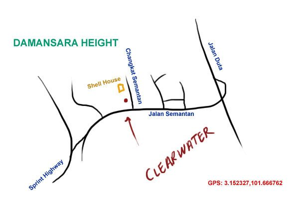 map to Clearwater, Damansara Height