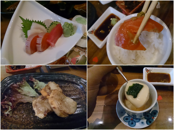 example of sashimi morawase + hotate butteryaki (category B+C)