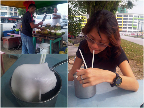 coconut juice by Jalan Puchong, near Tesco