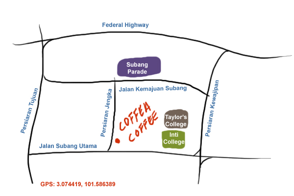 map to coffea coffee at Subang Jaya SS 15