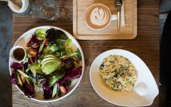 Taipa Salad, Forest Mushroom Risotto, Latte