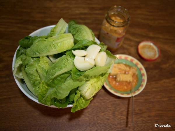 the ingredients - garlic, romaine lettuce, fermented bean curd
