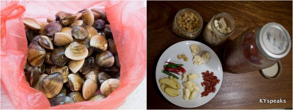 fresh clams, and the ingredients for superior soup