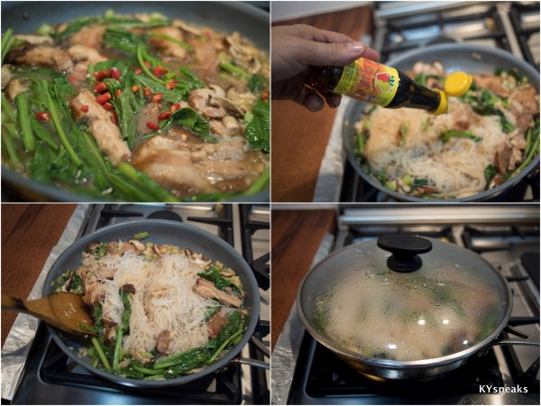 add some soya sauce & dark soya sauce, then steam it a bit