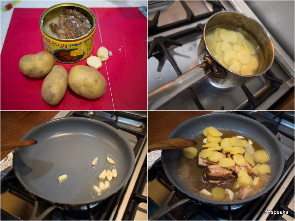 cooking potato with canned pork
