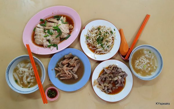 dinner for two - chicken, bean sprouts, chicken feet, offal